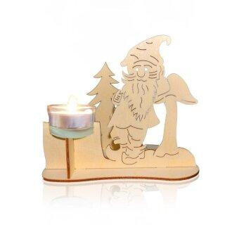 Teelichthalter - Wichtel mit Pilz und Tannenbaum, Original Erzgebirge