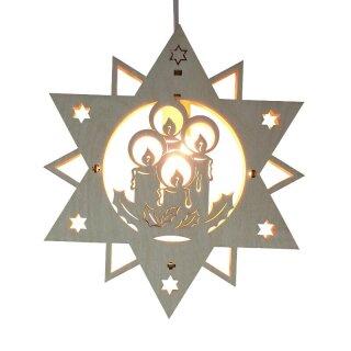 Fensterbild - Stern mit Kerzen, beleuchtet, Original Erzgebirge