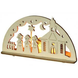Teelichthalter - Kurrende mit Kirche, Original Erzgebirge