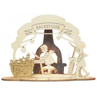 Teelichthalter - Kinder in der Backstube, Original Erzgebirge