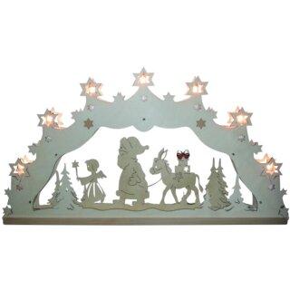 Lichterbogen - Weihnachtsmann und Esel, 55cm, Original Erzgebirge