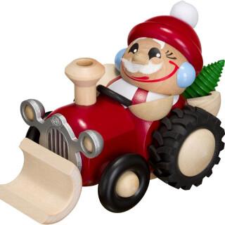 Kugelräucherfigur - Nikolaus im Traktor