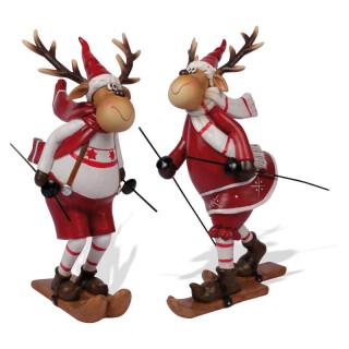 Skifahrer Weihnachtselch Arthur 21cm