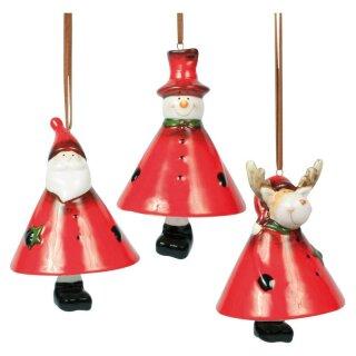 Glöckchen Schnee-Weihnachtsmann und Elch, 10cm