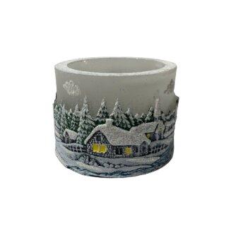 Teelichtzylinder - Winterdorf, grau