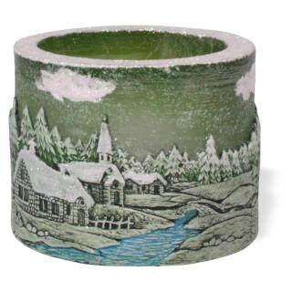 Teelichtzylinder - Winterdorf, grün