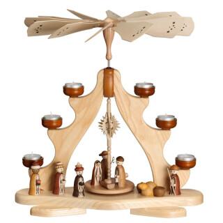 Teelichtpyramide - Christi Geburt, Esche natur