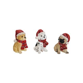 Hund sitzend mit Weihnachtsmütze, 4-fach sortiert, B5 x T9 x H7 cm