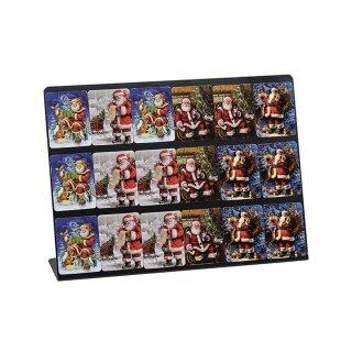Magnet Weihnachtsmann aus Kunststoff auf Tafel, 4-fach sortiert, B5 x H6 cm