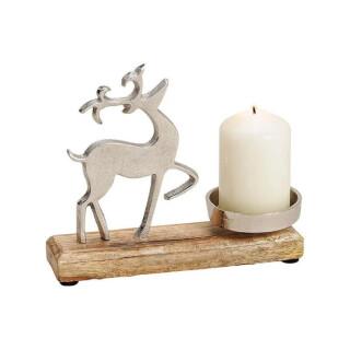 Kerzenhalter aus Metall, Mango Holz Elch Dekor Silber (B/H/T) 20x16x5cm