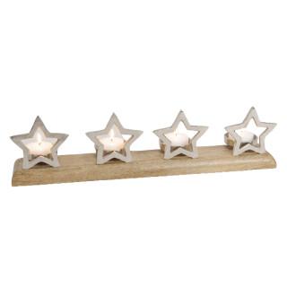 Adventsgesteck Stern Dekor Mango Holz, Metall,  Silber (B/H/T) 60x14x10cm