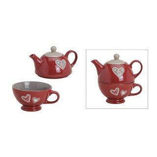 Teekannen-Set Herz aus Keramik, 2-teilig