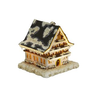 Haus mit Beleuchtung aus Poly, B20 x T18 x H20 cm