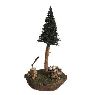 Dekobäumchen mit Holzstapel, 19 cm