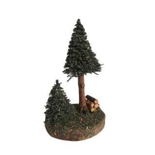 Bäumchen mit Holzstapel, 8 cm