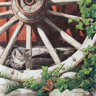 Serviette - Cat on an old whee