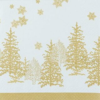 Tree and Snowflakes gold Serviette