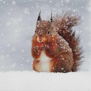 Serviette - Snowy Squirrel