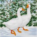 Serviette - Geese Couple