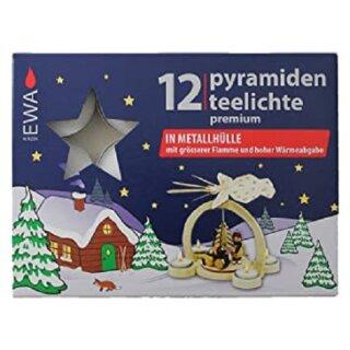 Pyramidenteelichte Premium in Metallhülle - weiß, á 12 Stück