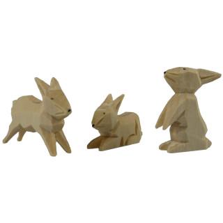 Hasengruppe geschnitzt 3 cm, 3 tlg.