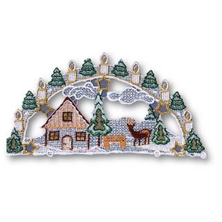 Fensterbild - Schwibbogen Winterlandschaft