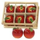 6er Set Keramik Deko-Weihnachtsapfel mini in Holzkiste