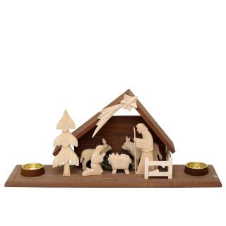 """Holz Krippe """"Heilige Familie"""" mit 2 Teelichthaltern (Flachschnitzerei), natur/braun"""