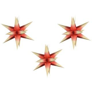 Sterne klein 3er Set - Rot mit gelben Spitzen, 16 cm