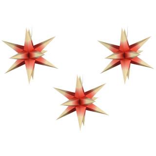 Sterne klein 3er Set - Rot mit weißen Spitzen, 16 cm