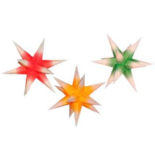 Sterne klein 3er Set - Rot/Gelb/Grün mit weißen Spitzen, 16 cm
