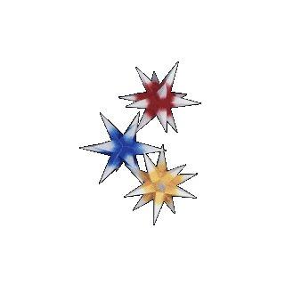 Sterne klein 3er Set - Rot/Gelb/Blau mit weißen Spitzen, 16 cm