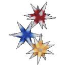 Sterne klein 3er Set - Rot/Gelb/Blau mit weißen...