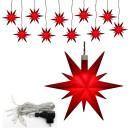 10er Set Plastik Weihnachtsstern Farbe rot 13,5 x 5,5 x...