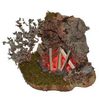 Lagerfeuer mit Korkrückwand, 12 x 10 cm