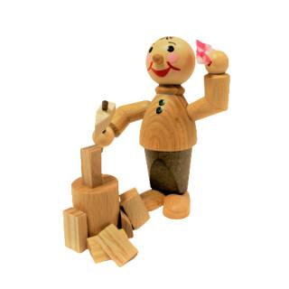 Wichtel mit Beil, Holz und Tuch