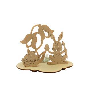 Teelichthalter - Hase mit Korb,Original Erzgebirge