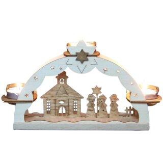 Teelichtbogen - Kurrende mit Seiffener Kirche, Original Erzgebirge