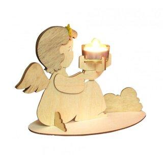 Teelichthalter - Engel sitzend, Original Erzgebirge