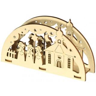 Serviettenständer - Kirche mit Kurrende, Original Erzgebirge