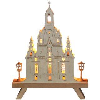 Standleuchte 3D - Frauenkirche mit Laternen,  Original Erzgebirge