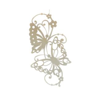 Fensterbild - Schmetterlinge mit Blümchen, unbeleuchtet, Original Erzgebirge