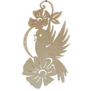 Fensterbild - Vogel mit großer Blume, unbeleuchtet, Original Erzgebirge