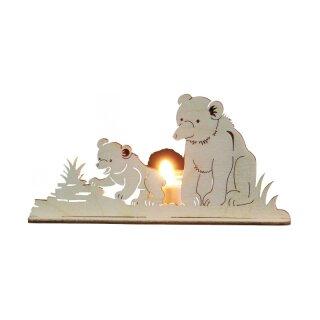 Teelichthalter - Bären, Original Erzgebirge